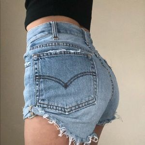 CUSTOM LEVI'S Cuffed Denim Shorts